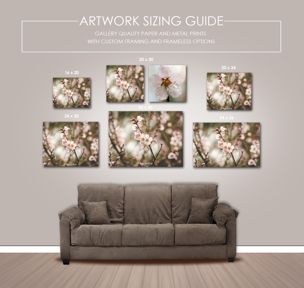 Artwork sizing guide for Angie Windheim Photography
